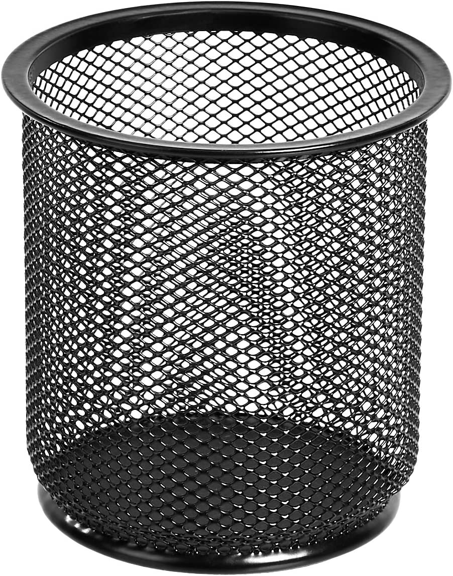 AmazonBasics Round Mesh Pen and Pencil Cup, Black, 3-Pack