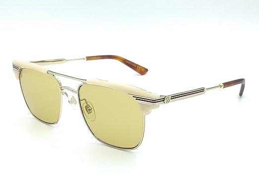 9247d401ec Amazon.com  Gucci GG0287S 005 Beige Gold Plastic Square Sunglasses ...