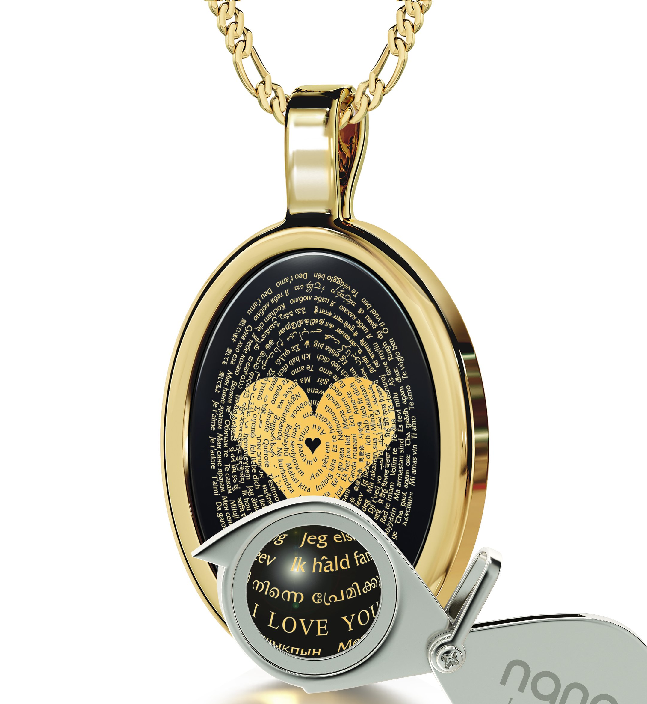 Gold Plated I Love You Necklace 24k Gold Inscribed in 120 Languages Onyx Pendant, 20'' Gold Filled Chain