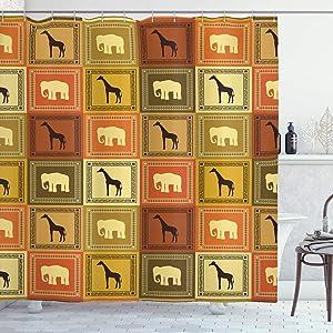 Ambesonne Safari Shower Curtain, Animals Pattern Silhouette Exotic Fauna Frame Vintage Illustration, Cloth Fabric Bathroom Decor Set with Hooks, 75
