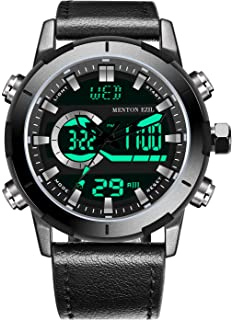 Menton Ezil Mens Sports Watch Sapphire Big Face Analog Digital Dual Time Waterproof EL Backlight,