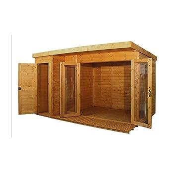 Walton - Cabaña de madera contemporánea para jardín con cobertizo lateral, 3, 66 x 2, 43 m: Amazon.es: Jardín