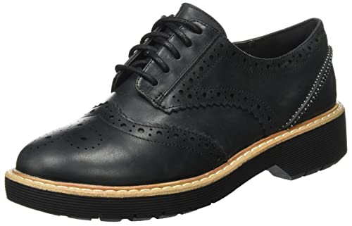 Raisie Bloom, Derby para Mujer, Negro (Black Leather), 41.5 EU Clarks