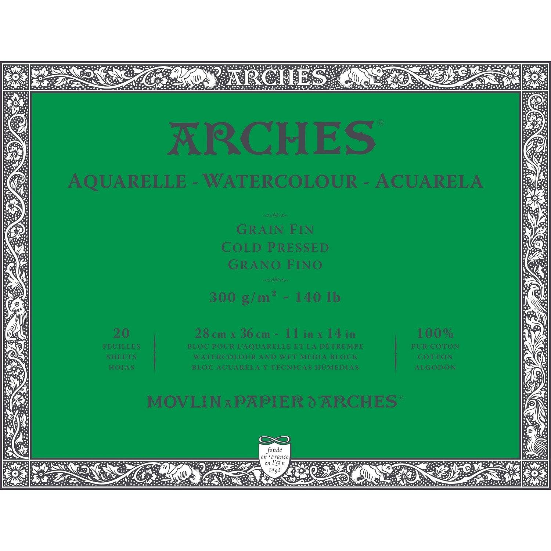 Arches Watercolor Paper Block, Cold Press, 7.9 x 7.9, 140 pound 7.9 x 7.9 1795059