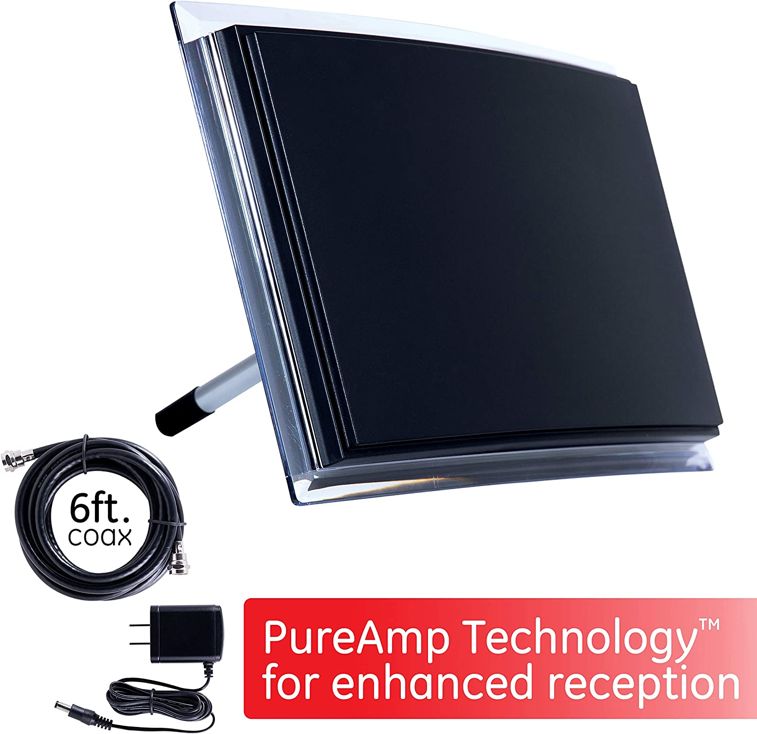 4K 1080P VHF UHF HDTV Antenna Smart TV Compatible Amplifier GE Indoor TV Antenna Digital 6Ft Coaxial Cable Perfect Home D/écor 34134 Signal Booster Amplified Long Range HD Antenna