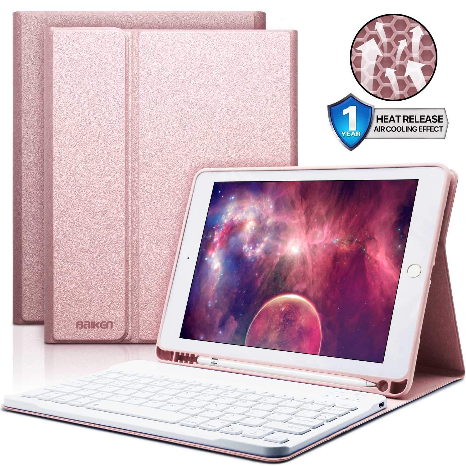 iPad Keyboard Case 9.7 with Pencil Holder for iPad 2018 (6th Gen)/iPad 2017 (5th Gen)/iPad Pro 9.7/iPad Air 2&1-Bluetooth Wireless Detachable Keyboard - iPad Case with Keyboard (Pink)