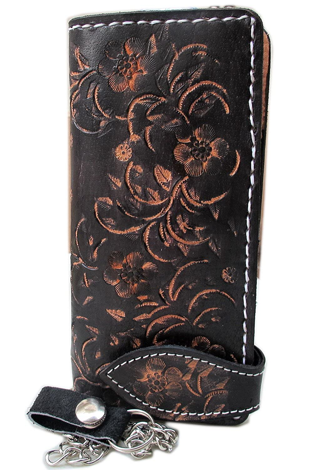 CLASSIC FLORA BIKER / TRUCKER CLUTCH WALLET WITH SAFETY CHAIN GENUINE COW LEATHER