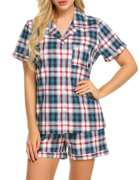 Ekouaer Women's Soft Sleepwear Short Sleeve Pajamas with Pj Shorts Set, Blue&white, Large