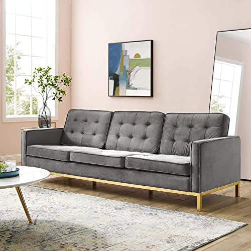 Modway Loft Tufted Button Performance Velvet Upholstered Sofa