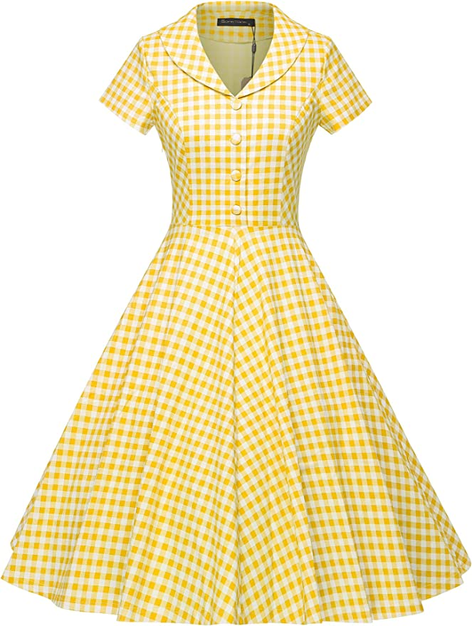Vintage Style Dresses | Vintage Inspired Dresses GownTown Womens 1950s Vintage Plaid Swing Dress with Pockets $38.98 AT vintagedancer.com