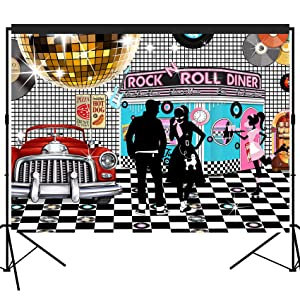 musykrafties 50s Diner Backdrop Large Banner Decoration Dessert Table Background Photobooth Prop 7x5feet