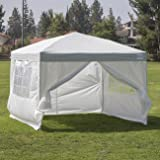 Belleze Easy Pop Up Canopy 10 x 10 Feet Vending Fair Shelter with 4 Removable Side Wall w/ Carrying Bag, Silver