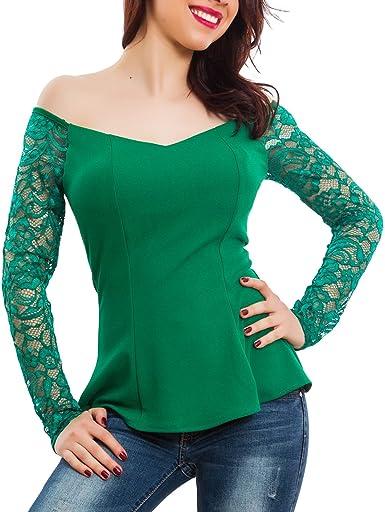 Toocool - Camisas - Reel - Liso - Manga larga - para mujer Verde Talla única: Amazon.es: Ropa y accesorios