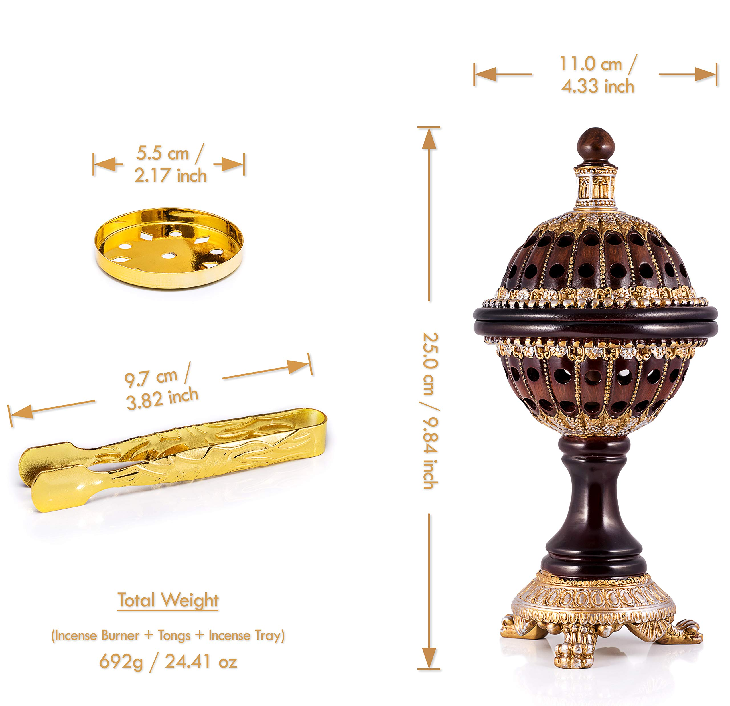 AM Incense Burner Frankincense Resin - Luxury Globe Charcoal Bakhoor Burners For Office & Home Decor by AM (Image #3)