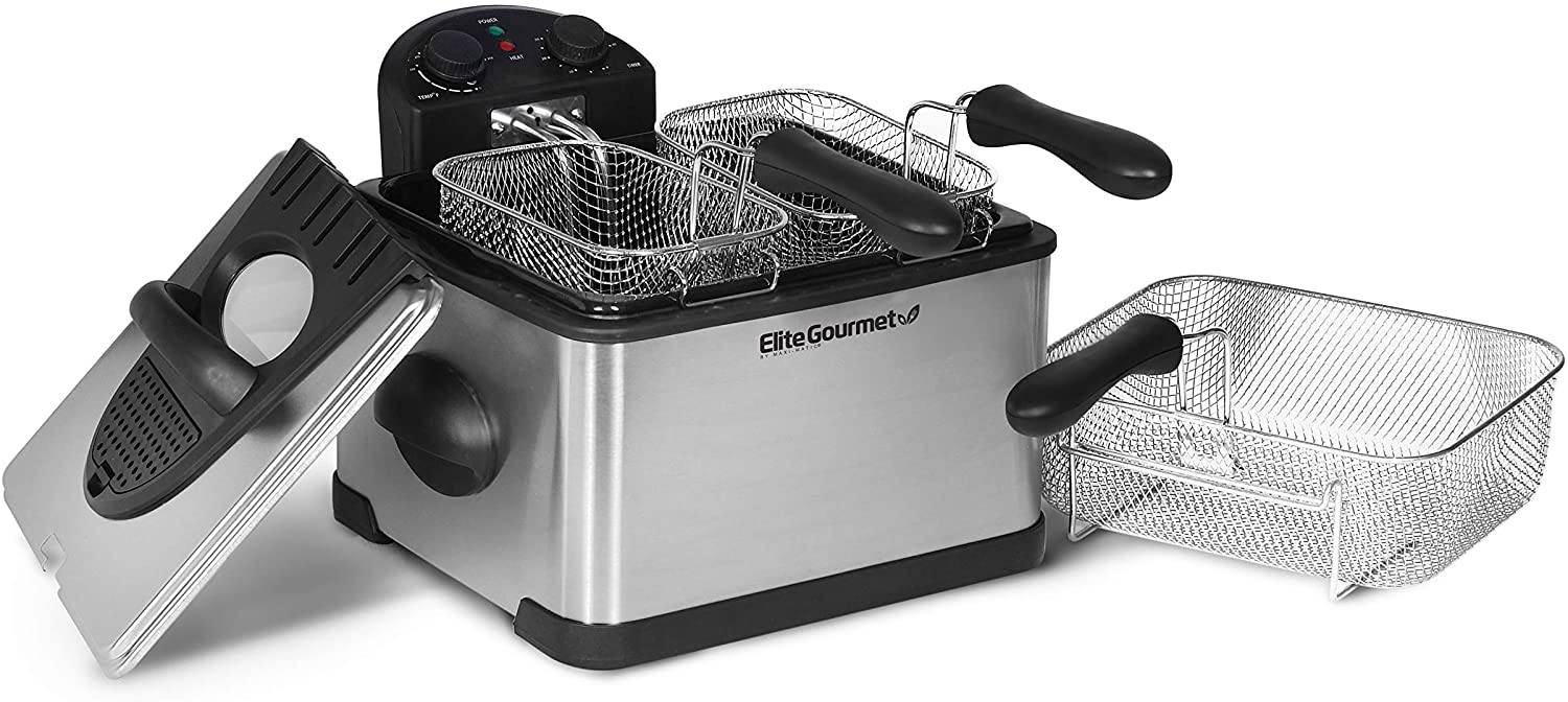 Elite Gourmet 1700-Watt Stainless-Steel Triple Basket Electric Deep Fryer with Timer and Temperature Knobs, 4.2L/17-Cup
