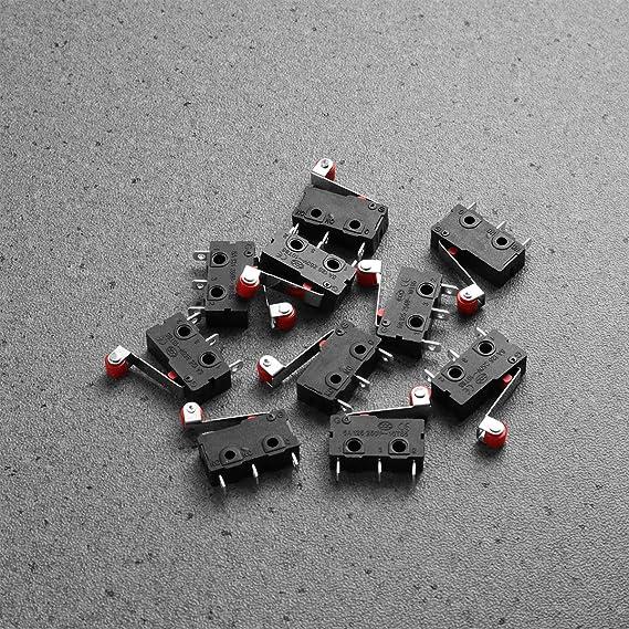 CESFONJER 12 pcs 250V 5A SPDT 1NO 1NC levier de rouleau de charni/ère momentan/ée Micro commutateurs 3 broches