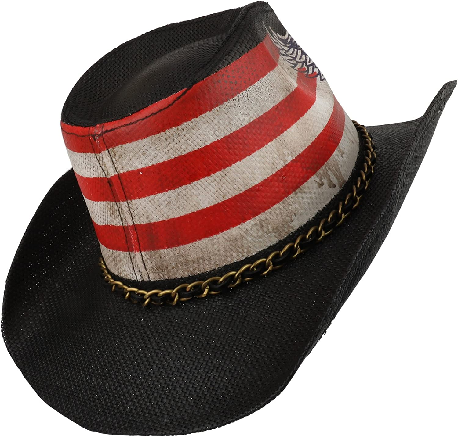 US Flag Skull Wing Toyo Western Cowgirl Cowboy Hat with Metal Chain FREE SHIP
