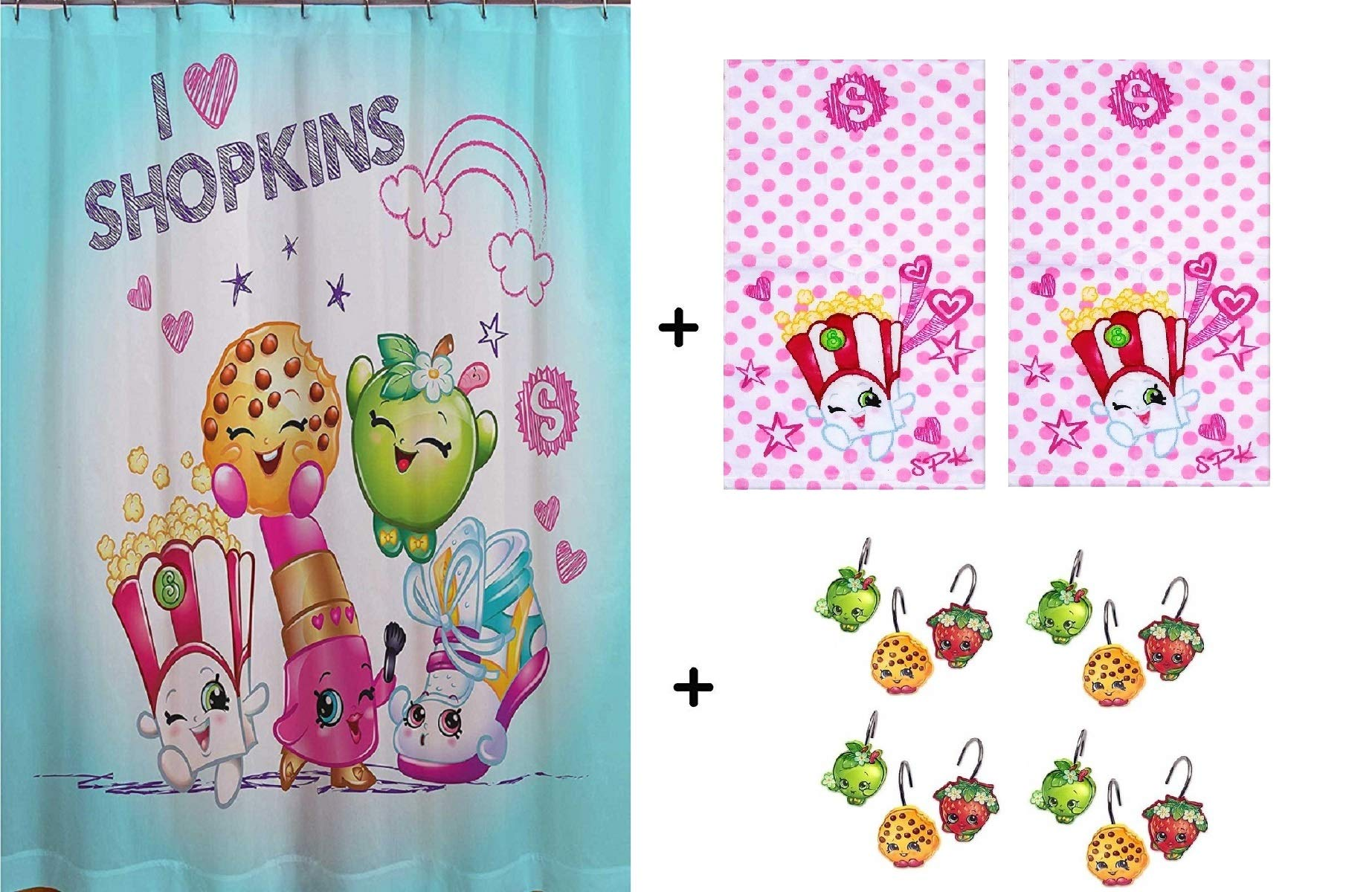 Shopkins ''Shower Curtain, Hooks & Hand Towels  ● Gift Pack