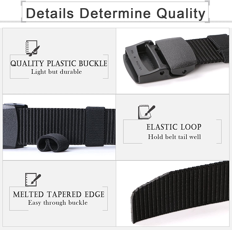 2 Pack Mens Nylon Belt Webbing Outdoor Military Belt 1.5 Inch Tactical Belt