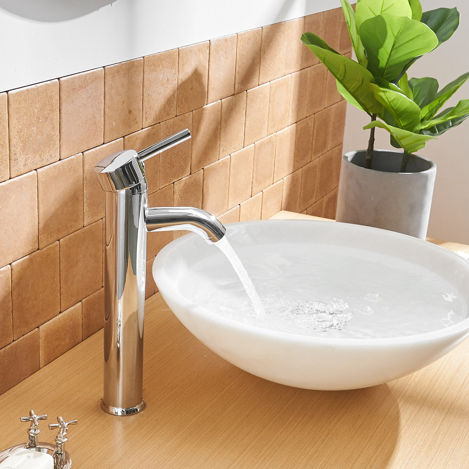 Aquafaucet Single Handle Lever Hole Bathroom Sink Faucet with Deck Plate Escutcheon Stainless Steel Chrome Finish Commercial