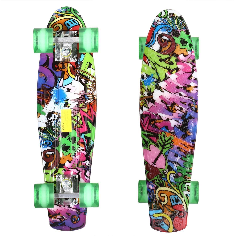 Leoneva Aluminum 22'' Mini Cruiser Skateboard Plastic Banana Board with Smooth PU Casters Complete Retro Style Skateboards for Christmas Gift, Max Load 220 Ibs