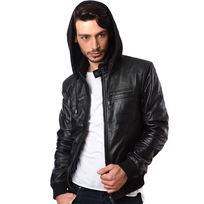 Mens Hooded Hoody Real Sheep Nappa Leather Jacket BLACK 100% GENUINE