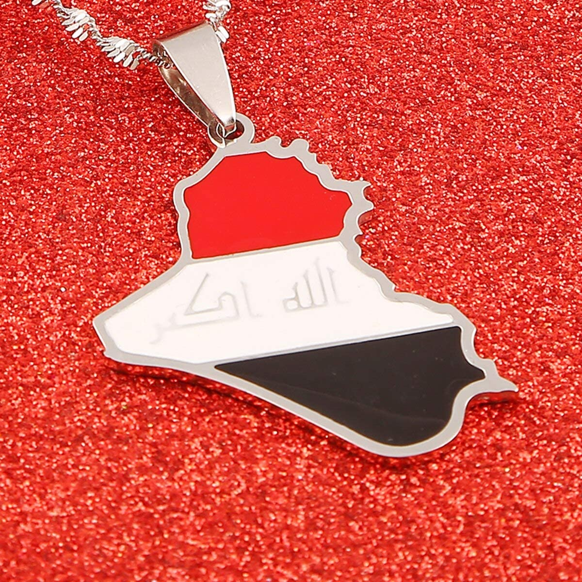 Stainless Steel Silver Color Iraq Map Pendant Necklace Trendy Map of Iraq Chain Jewelry