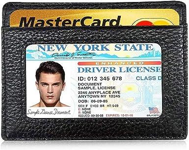 Black AIKELIDA Minimalist Front Pocket RFID Blocking Leather Slim Wallet for Men Women
