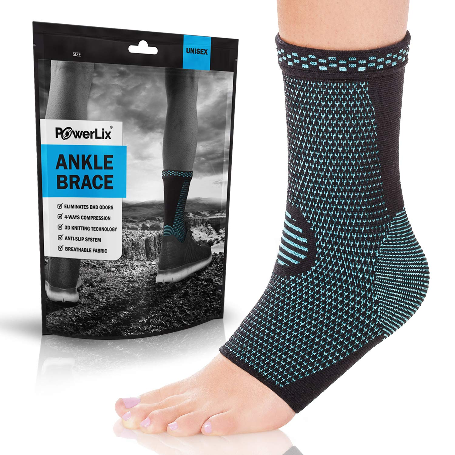 POWERLIX Ankle Brace Compression Support Sleeve (Pair) for Injury Recovery, Joint Pain and More. Plantar Fasciitis Foot Socks with Arch Support, Eases Swelling, Heel Spurs, Achilles Tendon by POWERLIX