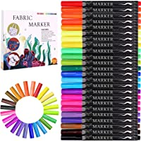 Fabric Marker, Emooqi 24 Colors Textile Marker , No Bleed Fabric Pen Permanent and Washable T-Shirt Marker,Ideal for…