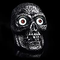 Halloween Indoor & Outdoor Decoration Motion Sound Activated Skull with Glowing Eyes and Creepy Sounds