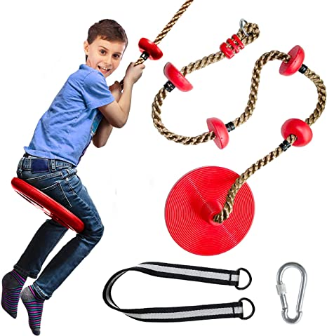 Bonus Carabiner and 4 Feet Strap Tree Swing Set Climbing Rope Red Disc Swings Seat Outdoor Playground Set Accessories Tree House Flying Saucer Outside Toys