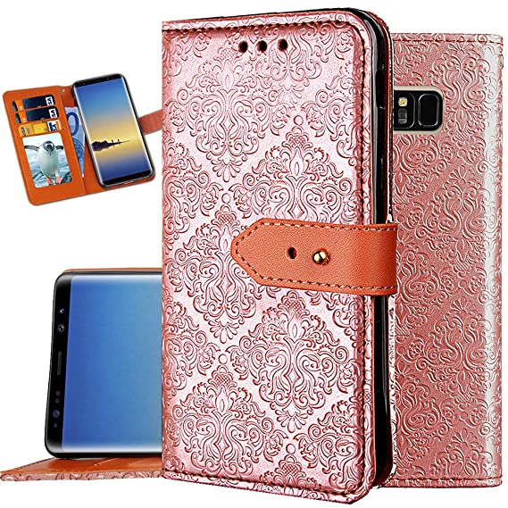 size 40 faff1 739f5 Note 8 Wallet Case,Auker Card Holder Feature Folio Flip Vintage Leather  Folding Wallet Case Military Grade Slim Fit Buckle Purse Phone Cover with  ...