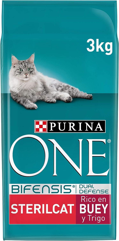 PURINA ONE Bifensis Pienso para Gatos Esterilizados Buey y Trigo 4 x 3 Kg