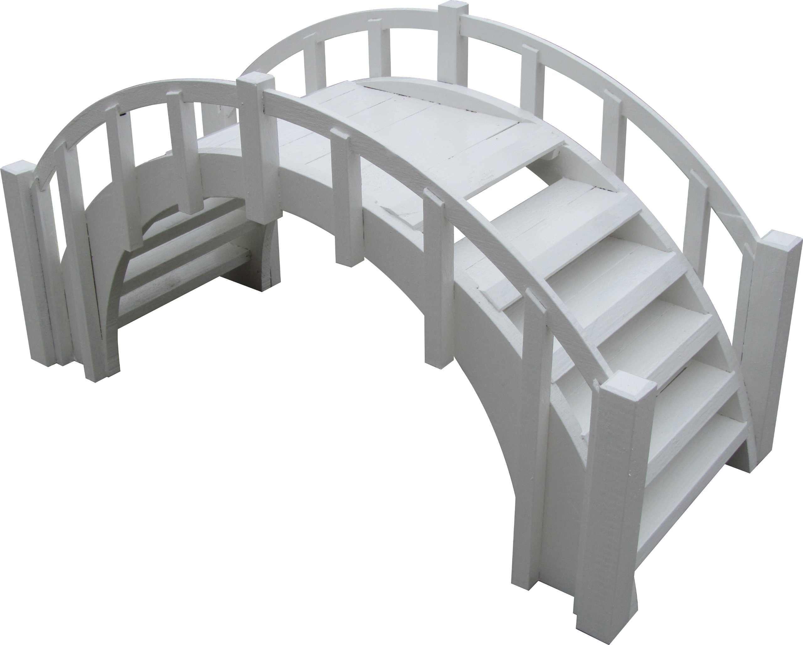 SamsGazebos Fairy Tale Arched Wood Garden Bridge with Decorative Picket Railings and Steps, 33'' L, White