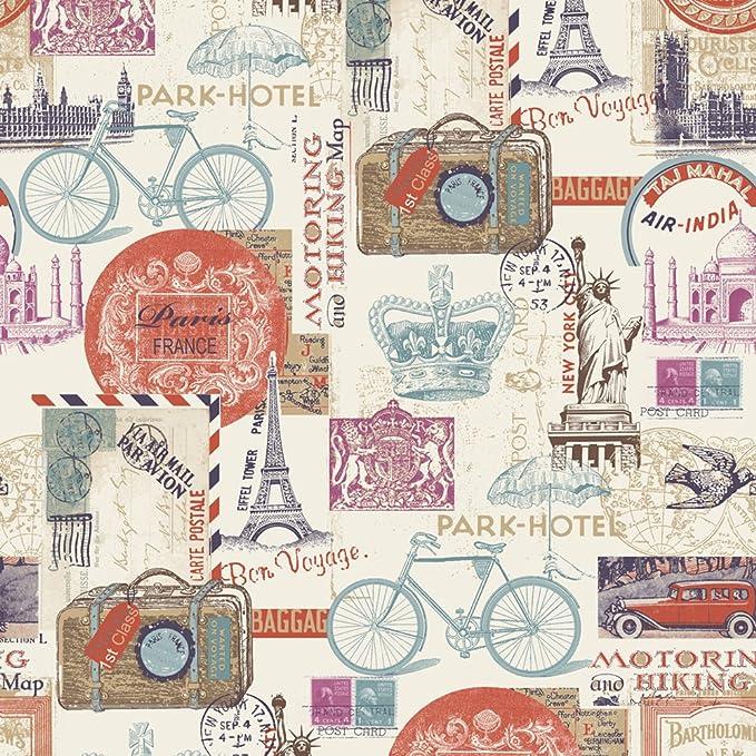Muriva 102516 - Papel Pintado, diseño Postales de Londres, París y ...
