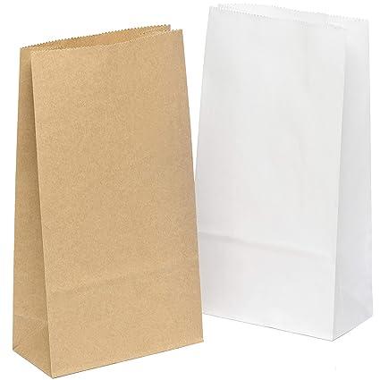 100 piezas Bolsas de Papel Regalo 12 x 22 x 6 cm - Bolsa Biodegradable Regalos Comunión para Invitados o para Guardar Comida, Semillas Flores, Dulces, ...