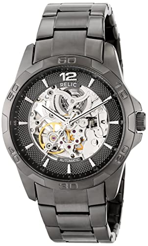 Amazon.com: Relic by Fossil Mens Brennan Automatic Stainless Steel Sport Watch, Color: Gunmetal (Model: ZR11853): Watches