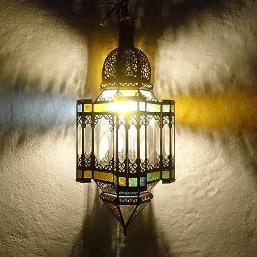 Farolillo marroquí multicolor, 73 cm, portavelas oriental de jardín, farol de metal marroquí como farol de jardín, o interior como farol de mesa: Amazon.es: Iluminación