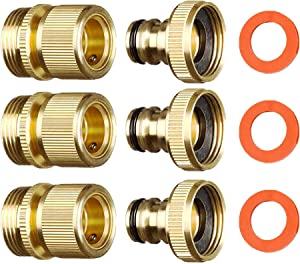 ShowNew Garden Hose Quick Connector 3/4 inch GHT Solid Brass Easy Connect Hose Thread Fittings Male and Female (3 Sets)