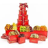 Dried Fruit & Nut Gift Basket, Red Tower + Ribbon (12 Piece Assortment) - Rosh Hashanah Prime Arrangement Platter, Care Packa