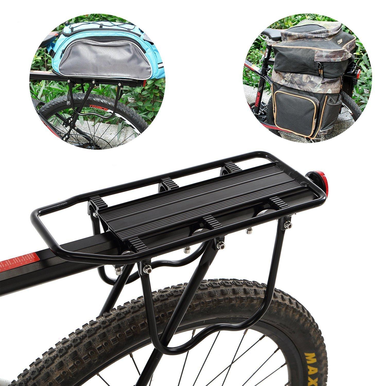 Utheing Universal Adjustable Carrier Bike Rear Rack, Bicycle Back Carriage, 110 lbs Capacity, Black