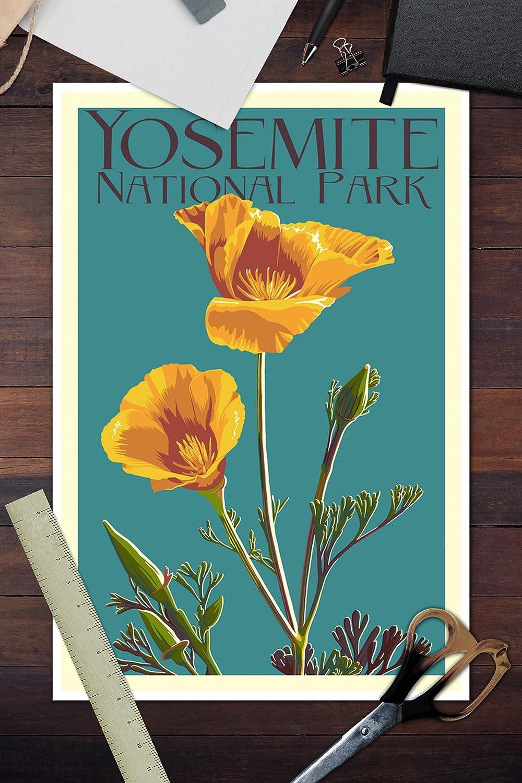 Yosemite National Park Art Print  National Park Watercolor  Camping Gift  Outdoor Art Gift  Watercolor Flower  California Poppy