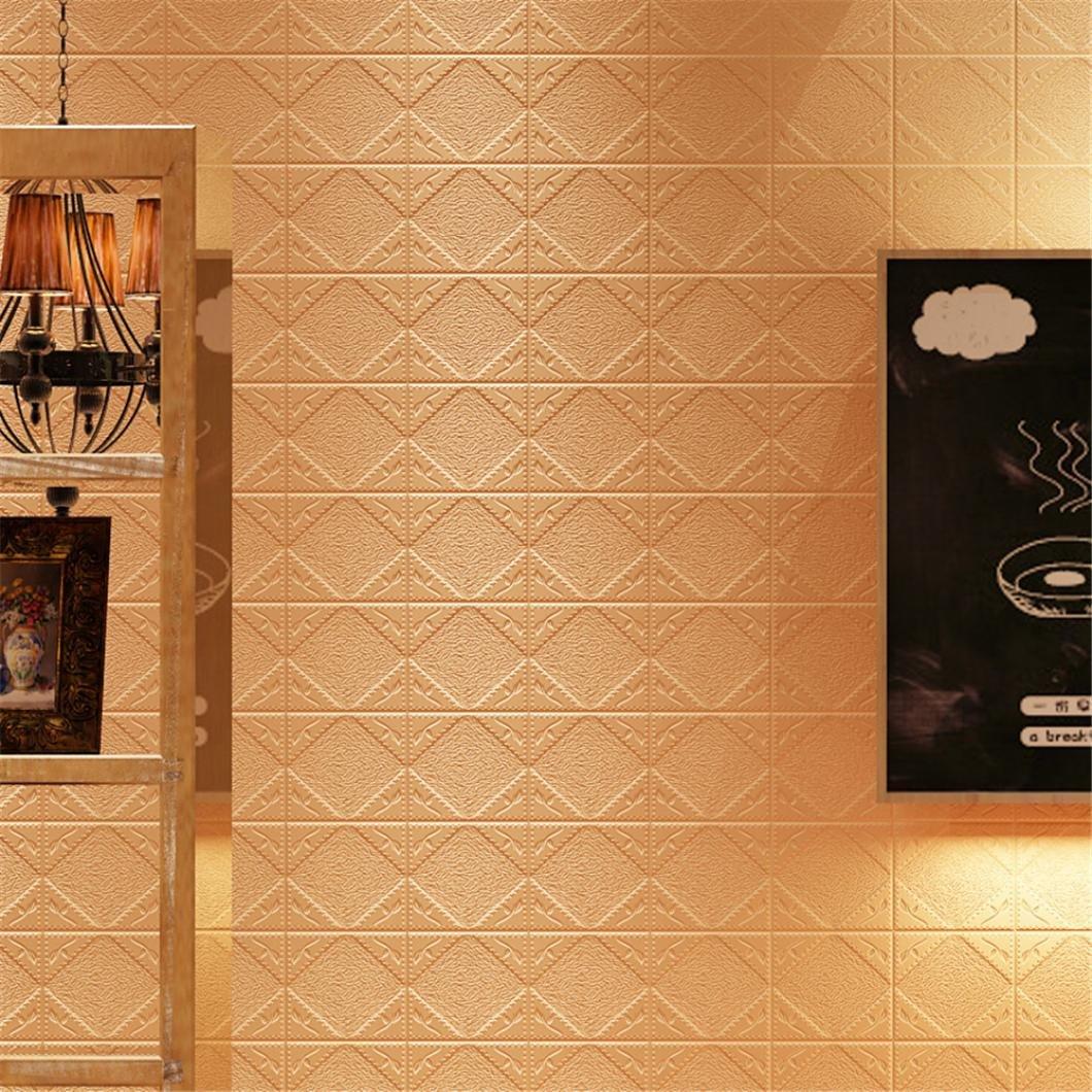 Nuevas Pegatinas de pared en relieve de piedra 3D de ladrillo - Saihui DIY Decoració n de pared PE de espuma en relieve Fondo de Pantalla 70cm x 70cm (Blanco)