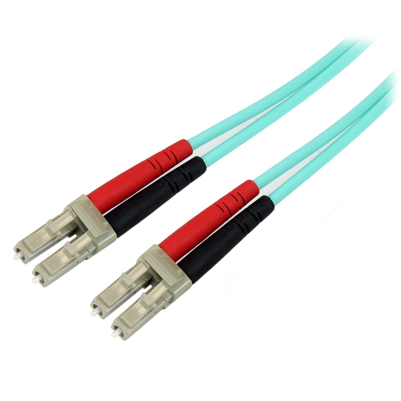 Aqua LC vers LC C/âble // Cordon fibre optique M/âle // M/âle LSZH Jarreti/ère optique duplex multimode 50//125 OM3 de 1m