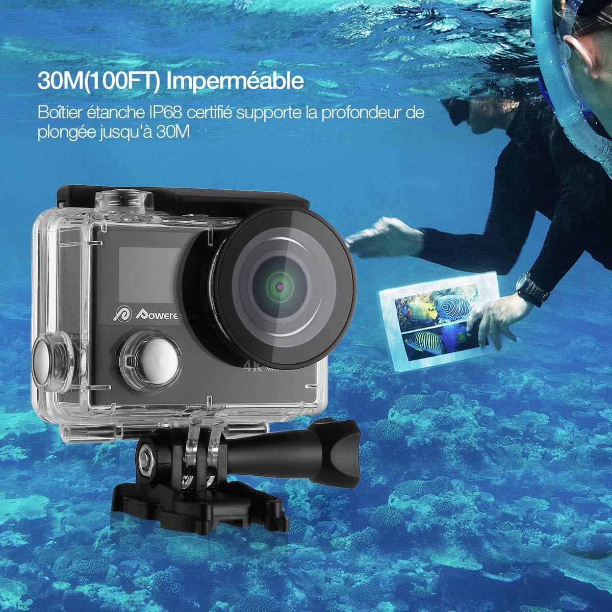 Powerextra Caméscope Sport 4K Caméscope Sport Caméra d'Action Appareil Photo Ultra HD 1080p Casque Imperméable /2 Inch Ecran LCD /Grand Angle 170°/12MP & WIFI /Étanche 30M /2.4G Télécommande/19 KITS Accessories