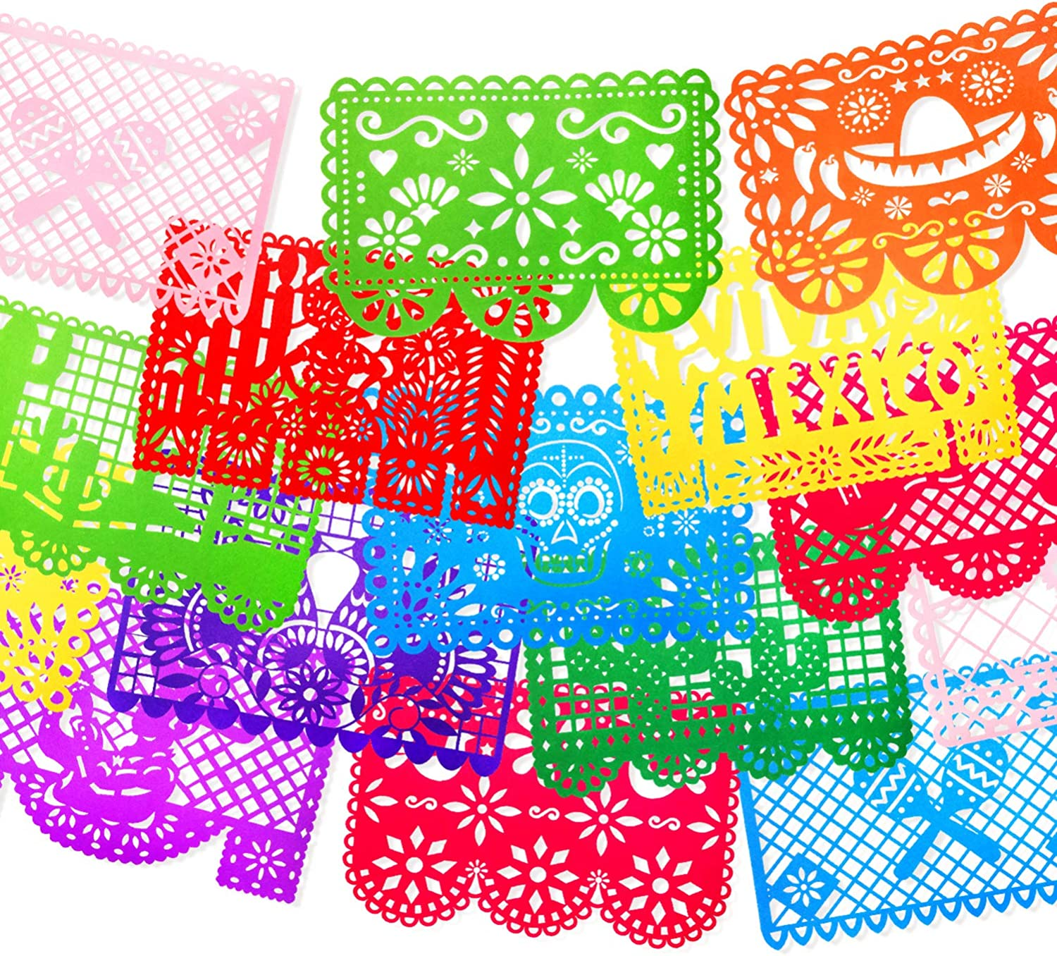 18pcs Papel Picado Banner Decorations- Large Felt Mexican Fiesta Banners for Fiesta Mexican Party Cinco De Mayo Day of the Dead Altar de Ofrendas Dia De Muertos Decorations