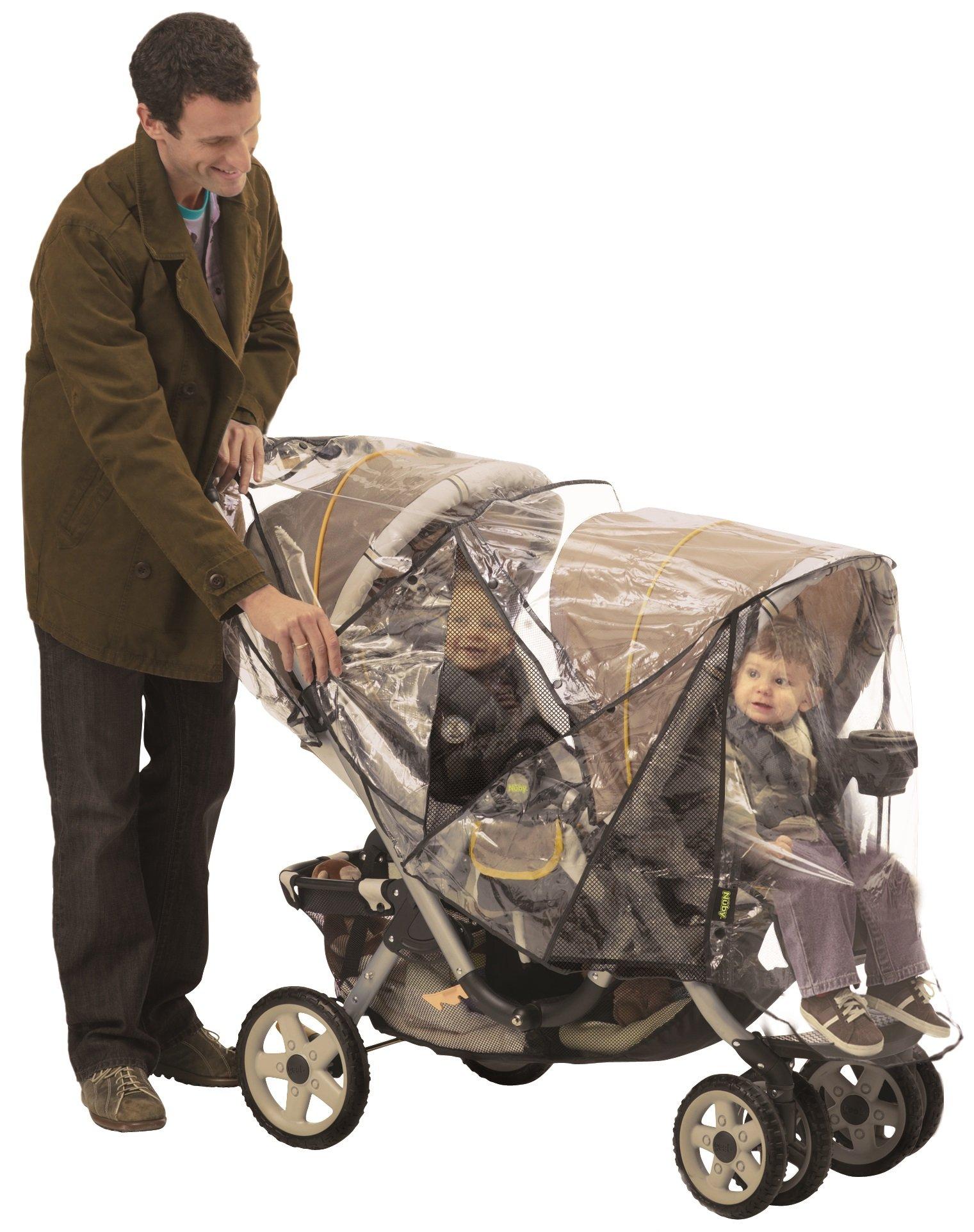 NUBY Deluxe Double Stroller Rain Cover, Tandem Stroller Rain Cover, Baby Rain Cover, Double Stroller Accessories, Tandem Stroller Weather Shield, Waterproof, Windproof, Ventilation, Clear Vinyl