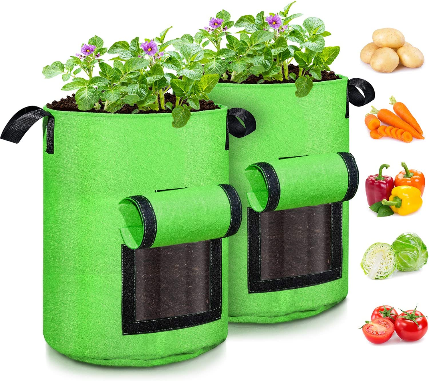 Carrot BSZ Potato Grow Bag,//Vegetable Grow Plant Bags with Handles and Access Flap for Vegetables Home Grow Bag,3 Pack Onion Fruits