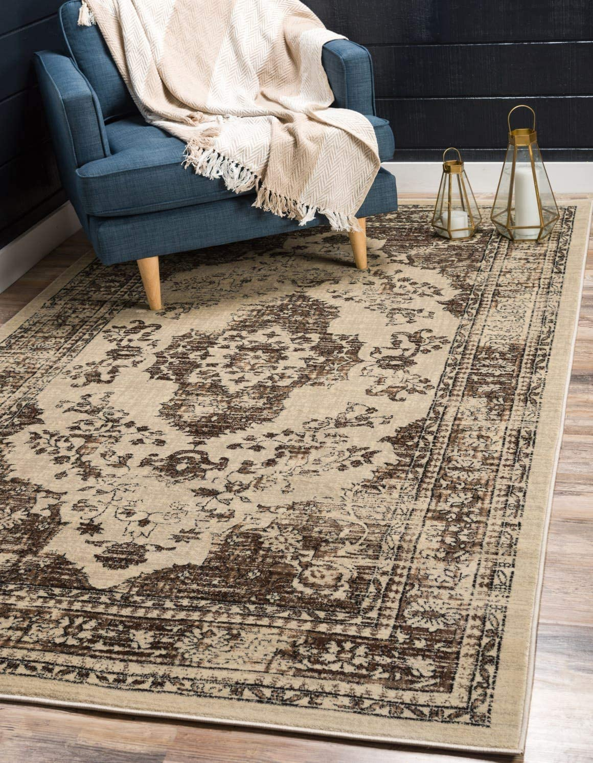 Unique Loom Oslo Collection Distressed Vintage Traditional Beige Area Rug 8 x 11